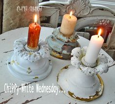 Re-Purposed Antique Light Fixure Mountings into Candle Holders. Pinned from: http://chippyshabby.blogspot.com/2011/03/chippy-shabby-re-purposed-white.html