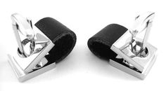 Black Leather Wrap Around Cufflinks by CuffCrazy