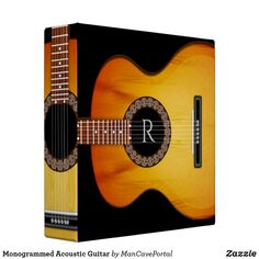 Shop Monogrammed Acoustic Guitar 3 Ring Binder created by ManCavePortal. Etsy Handmade, Handmade Items, Binder Inserts, 3 Ring Binders, Binder Design, Custom Binders, Monogram Initials, Music Lovers