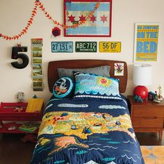 Our new Interstate Bedding features the incredible illustrations of Sarajo Frieden. It's an educational and beautiful addition to any kids room.