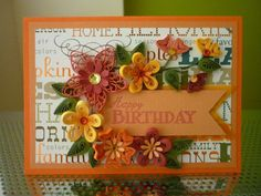 Handmade Autumn Orange Quilling Paper Happy Birthday card by FromQuillingWithLove