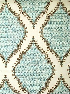 """Azma 23 Peacock -  John Robshaw Designer Fabric - Blockprint Textiles. Perfect drapery fabric or light use upholstery fabric. 100% cotton. Repeat: V: 12.5 H: 4.0, Duraguard finish. Made in U.S.A. DE 42510. 54"""" wide"""