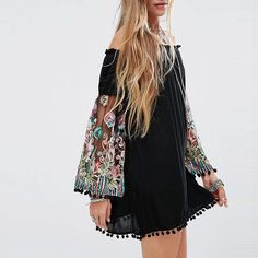 Women Off Shoulder Swing balck Dress With Embroidered Floral long Sleeves