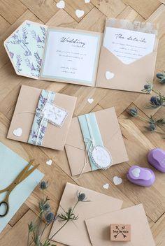 DIY pocket wedding invitation idea. A homemade wedding invitation with pocket fold