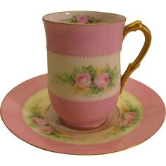 Absolutely Precious Antique Limoges French Hand Painted Demitasse Chocolate ~ Tea Cup and Saucer ~ Circa 1900