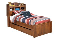 Brown Barchan Twin Bookcase Bed with Trundle by Ashley HomeStore