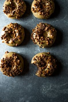 Salted Caramel Chocolate Doughnuts with Skor Bits