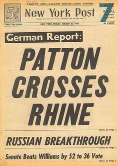 Patton 3rd Army Crosses Rhine Operation Plunder New York Post March 23 1945 B2