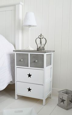 The Cottage Kids Range from The White Lighthouse. White bedroom furniture including bedside tables, desks and storage. Our finishing touches make for a perfect children's bedroom. Our Grey and white bedside table with cut out stars Childrens Bedroom Furniture, Hallway Furniture, White Bedroom Furniture, Grey Furniture, Gray Bedroom, Cabinet Furniture, Trendy Bedroom, Shabby Chic Furniture, Vintage Furniture