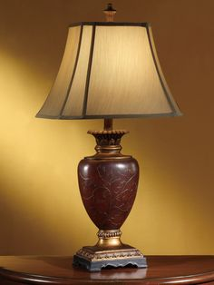 30 Ht. Handpainted Table Lamp in Antique Red/Gold Finish (6/9x10.5/16x11.5 Cut Corner Rectangle Silk)