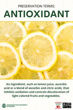 Learn more about antioxidants and other food preservation terms by visiting the link! Lemon Water Before Bed, Warm Lemon Water, Boil Lemons, Lemon Juice Benefits, Drinking Lemon Water, Colorado State University, How To Squeeze Lemons, Food Safety, Preserving Food