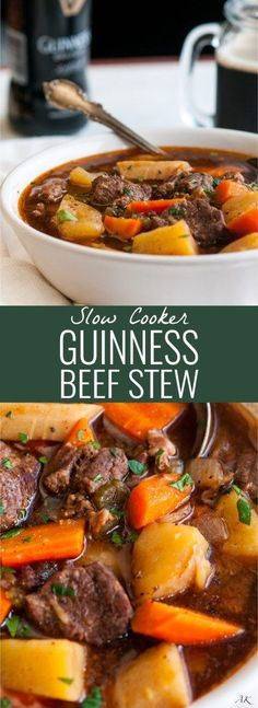 Slow Cooker Guinness Beef Stew - Easily made ahead, Guinness Extra Stout adds rich flavor to this hearty Irish dish. Perfect for St. Patrick's Day!