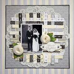 weaved background - wedding scrapbook layout (great use of scraps or pretty ribbon) Heritage Scrapbook Pages, Wedding Scrapbook Pages, Bridal Shower Scrapbook, Vintage Scrapbook, Scrapbook Cards, Couple Scrapbook, Scrapbook Photos, Anniversary Scrapbook, Birthday Scrapbook