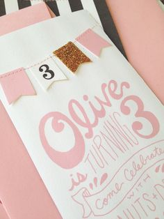 Oliver's Black and White, Pink and Gold Themed Birthday Invites   Orange Paper Shoppe