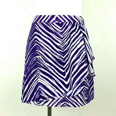 BCBGMaxAzria  Purple Zebra Skirt BCBGMaxAzria  Purple Zebra Skirt. Front side draped detail. Back zip. Unlined. NWOT.   Waist 14.5 Length 15.5  NO Trade or PP  Offers Considered  Bundle discounts BCBGMaxAzria Skirts Mini
