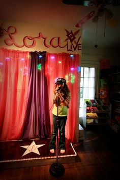 On Stage in the Playroom, I transformed my daughters playroom into a stage for a budding star!, The stage is a simple box made of plywood. The builder (family friend) stained it and actually carved it to make it look like wooden plank., Other Spaces Design