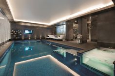 UK's most expensive new terrace house? Mansion with carriage driveway, swimming pool and spa put up for sale for Swimming Pool House, Luxury Swimming Pools, Luxury Pools, Indoor Swimming Pools, Swimming Pool Designs, Lap Pools, Dream Pools, Luxury Spa, Inside Pool