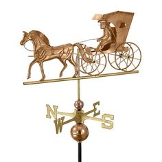 """26"""" Luxury Polished Copper Country Doctor Horse & Carriage Weathervane - Walmart.com"""