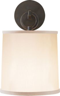 """french cuff sconce  Barbara Barry    OVERVIEW  Height: 14""""  Width: 8""""  Extension: 8 3/4""""  Backplate: 4 3/4"""" Round  Shade: 7 1/2"""" x 8"""" x 8 1/2"""" With Diffuser  Wattage: 1 - 75 Watt Type A  Socket: Keyless  price$357.00"""