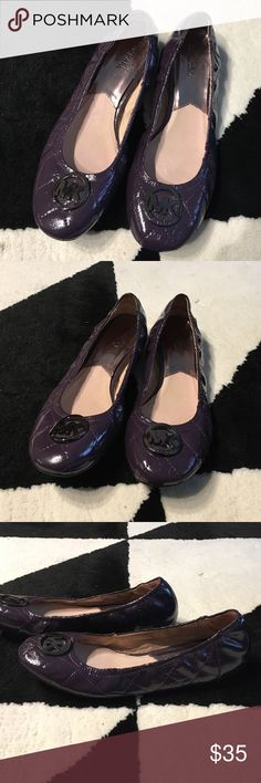 Michael Kors Quilted Flats Purple quilted glossy flats with dark silver MK pendant. Signs of wear inside but great condition outside and soles. MICHAEL Michael Kors Shoes Flats & Loafers