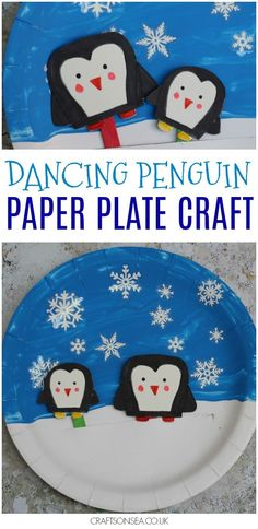 Winter crafts for kids that they can play with afterwards! This penguin paper plate craft is totally movable and tons of fun to make. #wintercrafts #kidscrafts #penguin #kidsactivities #paperplate