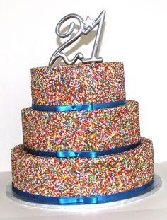Hundreds & Thousands 21st Cake Like us on www.facebook.com/melianndesigns