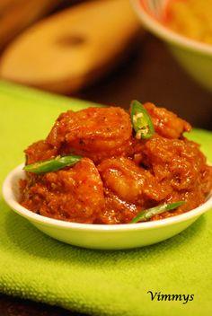 Prawns Tomato Roast (Kerala, Indian Recipe)