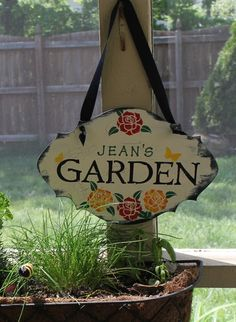 GARDEN Sign Personalized Decorative Sign w/stake/Great Mothers Day Gift/Garden Sign/Door Sign/Porch Sign/Burgandy/Shabby Chic/Cottage via Etsy
