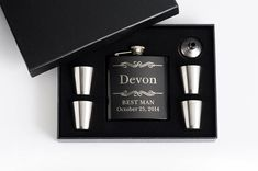 7 Personalized Groomsmen Gift Engraved Flask Set by EngravingPro, $154.00