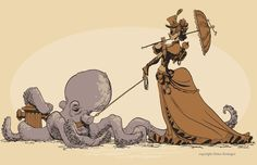 Steampunk lady walking her pet octopus by Brian Kesinger. I want this picture hanging in my room! Kraken, Steampunk Kunst, Victorian Steampunk, Devian Art, Fallen London, Tentacle, Dieselpunk, Cool Art, Character Design