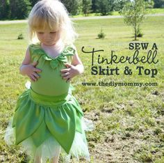 Tinkerbell DIY Skirt and Top | Cute and Fun Halloween Costumes by DIY Ready at http://diyready.com/diy-tinkerbell-costume-ideas/