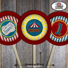 Carnival Party - Circus Party - Lollipop Labels Stickers