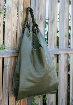 Olive Green Leather Hobo Bag  Every day Shopping by EleannaKatsira