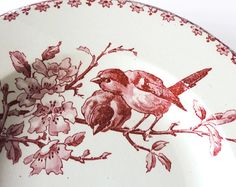 Faience Red Transferware Soup Plates