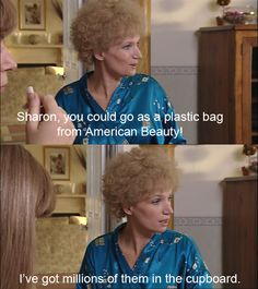 Kath Kim - Sharon, you could go as a plastic bag from American Beauty Kim Tv, New Television, Film Books, Sarcastic Quotes, Movie Tv, Random Stuff, Funny Stuff, Tv Shows, Hilarious