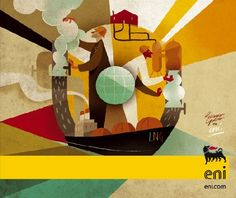 Copertina per brochure prodotti ENI - Agency TBWA (Roma) Creative Brochure, Brochure Design, Flat Illustration, Digital Illustration, All Design, Graphic Design, Eroge, Poster Ads, Illustrators