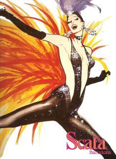 Scala, Barcelona, by René Gruau Cabaret, Illustrations, Illustration Art, Art Amour, Desenhos Love, Rene Gruau, Pin Up, Expositions, Advertising Poster