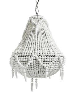 Large White ceiling pendant Chandelier Beaded wood beads as seen in anthropologie or abigail ahern, much cheaper versions though.