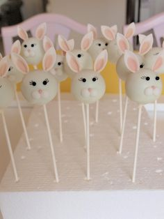 Bunnies — Cake Pops / Cake Balls. Tuck the bunnies in with a scrap of red fabric inside a clear box.