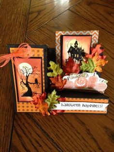 """This is a side Step card that uses the """"Best of 25 Halloween"""" from Stampin'Up. I like these stamps as they are smaller than the original. In addition using Halloween Happiness new from the Holiday mini! See more at gigidesigns. Halloween Paper Crafts, Up Halloween, Halloween Cards, Halloween Potions, Halloween Painting, Halloween Prints, Fall Cards, Holiday Cards, Center Step Cards"""