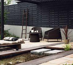 20 Best Ideas For Garden Fence Black Patio Fence Landscaping, Backyard Fences, Garden Fencing, Backyard Ideas, Fence Ideas, Outdoor Rooms, Outdoor Gardens, Outdoor Living, Outdoor Decor