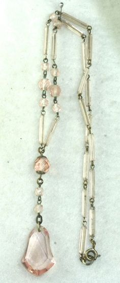 ANTIQUE ART DECO BABY PINK CZECH GLASS NECKLACE in Jewelry & Watches, Vintage & Antique Jewelry, Costume | eBay