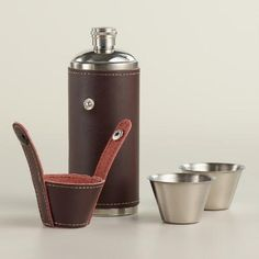 One of my favorite discoveries at WorldMarket.com: Stainless Steel and Leather Camping Flask Set