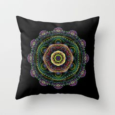 Throw #pillow on #Society6 with design by Natalia Bykova. #mandala, #fractal, #black, #throwpillow, #homedecor, #abstract, #print, #abstraction