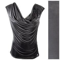 """D14 Black Rosette Draping Front Shimmery Top Drape Neck Top Size Large ‼️PRICE FIRM‼️  Beautiful fabric.  Black with a shimmery look.  Drape neck with a rosette on the shoulder.  Lightweight and perfect for spring and summer!  Bodice is lined.  Lots of stretch for a perfect and comfortable fit. Self 100% rayon, contrast 100% polyester.  Bust up to 46"""" Length of garment 23"""" Finesse Tops"""