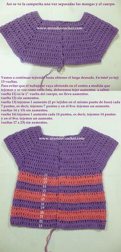 Como tejer un saco, campera, cardigan o chambrita a crochet o ganchillo desde el canesu13