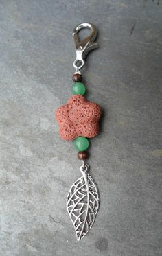 Energy Charged Red Lava Rock flower and Green Aventurine Leaf Key Charm with Wood accents by SpiritualTurtle