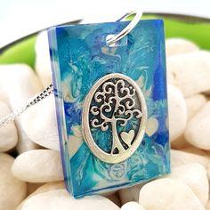 Blue with silver tree resin necklace Tree Necklace, Resin Necklace, Jewelry Necklaces, Jewel Of The Seas, Silver Earrings, Enamel, Phone, Blue, Accessories