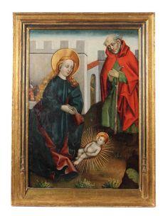 Altdeutscher Meister des 15./16. Jh. Paar gotische Bildtafeln: ''Heilige Familie'' und ''Jesu Einzug in Jerusalem''