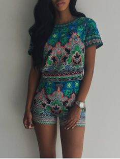 Retro Style Abstract Printed Short T-Shirt+High Waist Shorts Twinset For Women